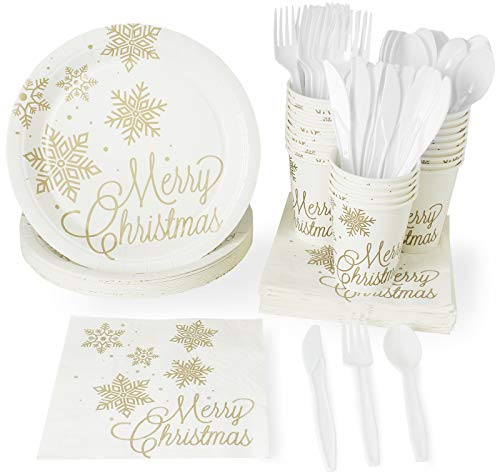 Merry Christmas Party Supplies – Serves 24 – Includes Plates, Knives, Spoons, Forks, Cups and Napkins. Perfect Xmas Gold Snowflake Design Party Pack for Christmas Themed Parties. ()