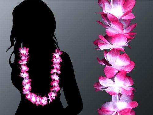 Collier Hawaii blanc rose-vif collier fleur Hawaii collier 08 Collier Tahitien blanc rose collier des fleurs hawaii collier 08