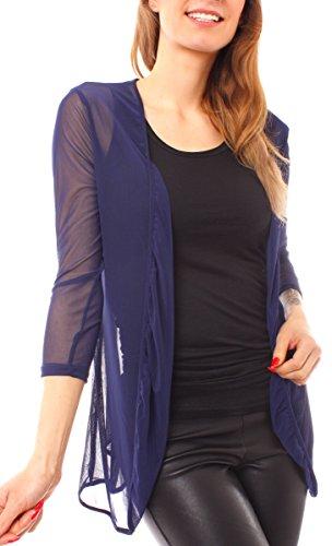 Easy Young Fashion - Gilet - Cardigan - Femme Bleu Fonc