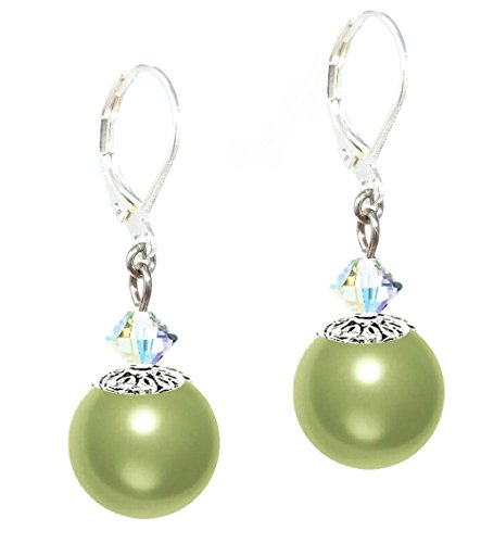 Drop Earrings Made With Swarovski (tm) Crystal Pearls - Light Green (E606)