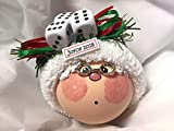 Bunko Bunco Gift Grandma Mrs. Claus Christmas Ornament Three Dice Hand Painted Handmade Personalized and Themed by Townsend Custom Gifts (F)