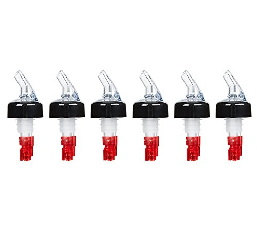 (Pack of 6) Measured Liquor Bottle Pourers, 1 oz, Clear Spout Bottle Pourer with Red Tail and Black Collar, Measured Pour Spouts byTezzorio by Tezzorio Bar Supplies