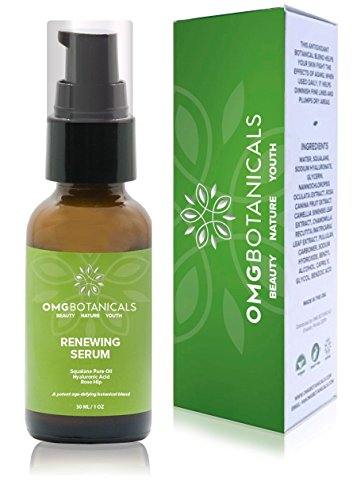 OMGBOTANICALS Hyaluronic Acid Serum with Squalane Oil & Rose Hip - Natural & Organic Anti Wrinkle Renewing Formula for Face - Boost Collagen 1 fl oz. ()