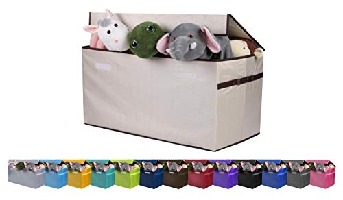 JUMBO Collapsible Toy Chest for Kids (XX-Large) Toy Organizer, Huge Storage Basket w/ Flip-Top Lid | Organizer Bin for Bedrooms, Closets, Child Nursery | Store Stuffed Animals, Games, Clothes, -