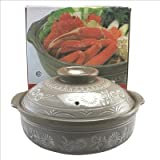 Khafu Japan 10-Inch Japanese Earthen Casserole Pot