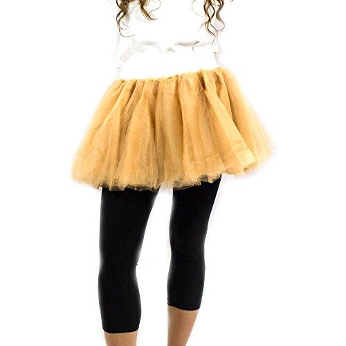 Everfan Gold Tutu, Princess, Ballerina Dance Tutu, Runner Skirt, Race Tutu - Large -