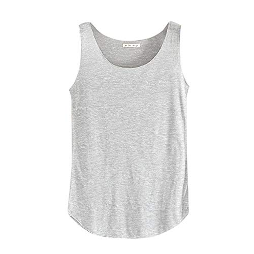 Sunhusing Women's Summer Solid Color Bamboo Cotton Slim Vest Round Neck Sleeveless Bottoming Shirt Light Gray