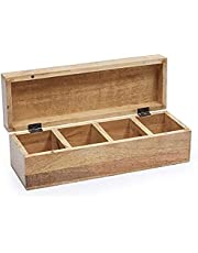 Wooden Tea Box Organizer with Divided Sections (12.5 x 4 x 4)