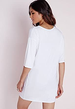 21d080d5efc Womens Mesh V Insert Oversized T-Shirt Dress White - 10  Amazon.co.uk   Clothing