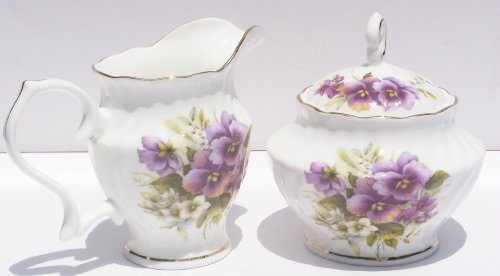 Fine Bone China Cream and Sugar Pansy Chintz