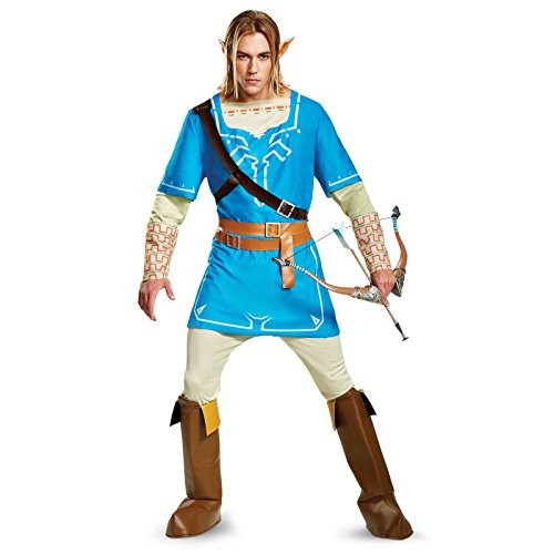 [Disguise Men's Plus Size Link Breath of the Wild Deluxe Adult Costume, Blue, XX-Large] (Gaming Costumes)