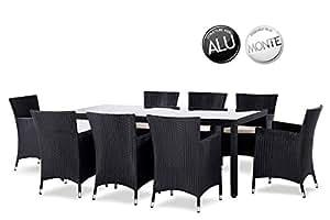 Sol-Mesa y sillas de jardín en resina trenzada MYKONOS 8 plazas, color negro