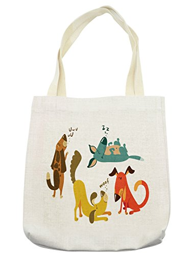 (Lunarable Dog Lover Tote Bag, Cute Dogs Playful Friendship Paw Sitting Sleeping Smiling Standing Humor Fun Art, Cloth Linen Reusable Bag for Shopping Groceries Books Beach Travel & More, Cream)