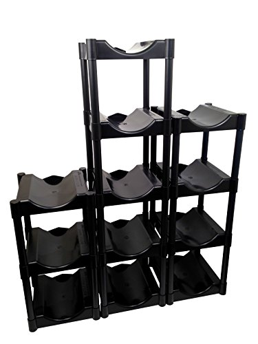 Bottle Buddy TBB80016 Storage System, Black 12-Pack, Shelves