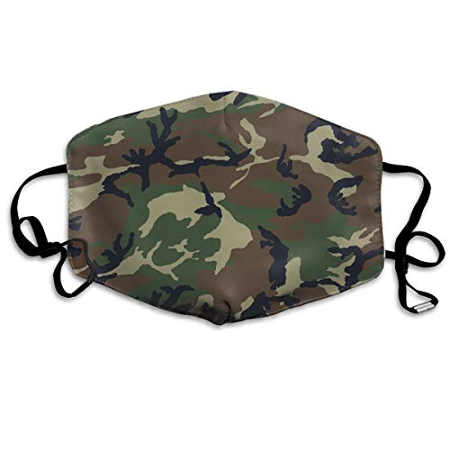 Army Camouflage 3D Print Washable Reusable Safety Mask, Cotton Anti Dust Half Face Mouth Mask for Kids Teens Men Women Lovers Dustproof With Adjustable Ear Loops -