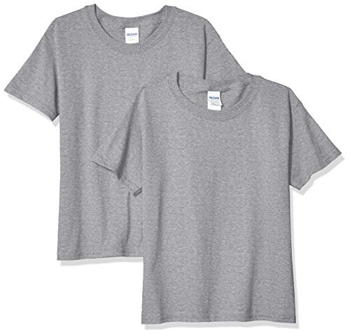 Gildan Kids' Big Heavy Cotton Youth T-Shirt, 2-Pack, Sport Grey, Large