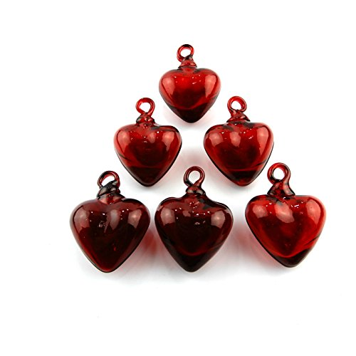 Hand Blown Heart Set of 6 Red (Red Glass Heart Ornaments)