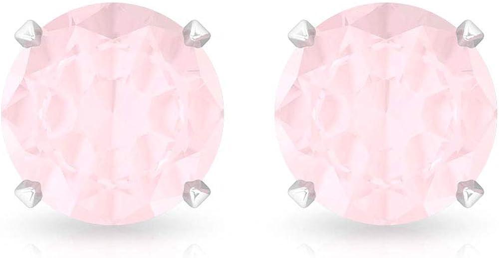 Pendientes de cuarzo rosa natural de 0,80 ct, certificado SGL, de cuarzo rosa, para mujer, aniversario, boda, con piedras de nacimiento, juego de puntas de oro, tornillo hacia atrás, 18K Oro