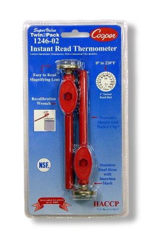 Cooper-Atkins 1246-02-2 Bi-Metal Pocket Test Thermometer with Adjustment Sheath, NSF Certified, 0/220°F Temperature Range (Pack of 2)