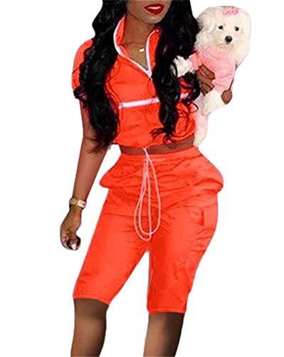 Women Two Piece Outfits Tracksuit - Sexy Jumpsuits Windbreaker Pullover Crop Top Short Joggers Pants Set Orange