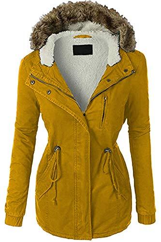 FASHION BOOMY Womens Zip Up Military Anorak Jacket W/Hood (Medium, -