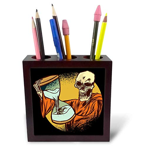 3dRose Sven Herkenrath Fantasy - Skull Skeleton Halloween Style with Hourglasses - 5 inch Tile Pen Holder (ph_310615_1)