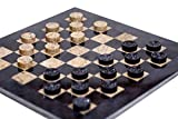 RADICALn Checkers Board Game 15 Inches Black and Brown Handmade Marble Coffee Time Checkers Game - Non Wooden Non Cloth Non Chess Set - Fun Table Draughts Board Games for Kids and Adults