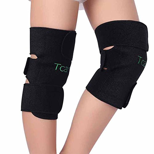 Magnetic Therapy Pad - Tcare 1Pair Tourmaline Self-Heating Knee Leggings Brace Support Magnetic Therapy Knee Pads Adjustable Knee Massager Health Care
