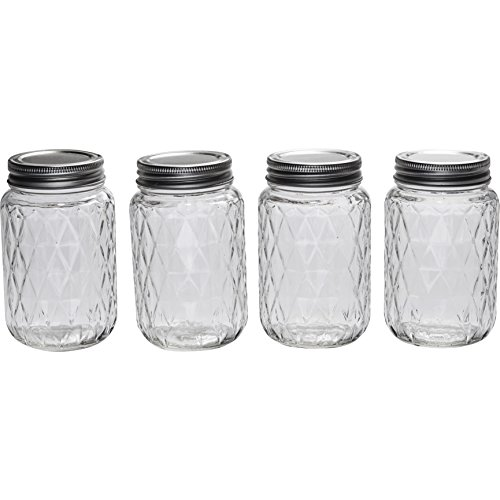 Circleware Glass Mason Jars With Metal Screw Top Lids Treasure Edition Diamond Design 4 Piece 17 Ounces Clear