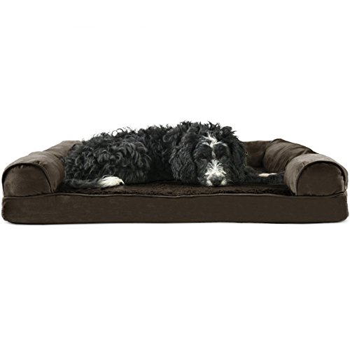 Furhaven Pet Dog Bed | Orthopedic Ultra Plush Sofa-Style Couch Pet Bed for Dogs & Cats, Espresso, Large -
