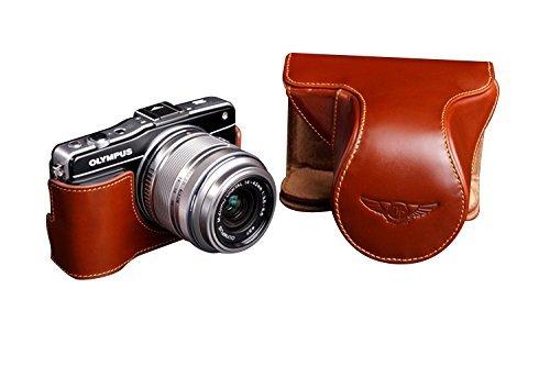 オリンパス E-PM2 (EPM2)用本革レンズカバー付カメラケース ブラウン B07TBM7KZK レンズカバー付ケース&ストラップTP1881&バッテリーケース FreeSize