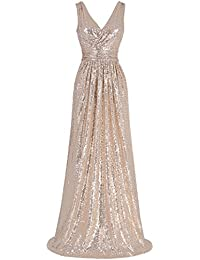 44290f46f3 Women Sequin Bridesmaid Dress Sleeveless Maxi Evening Prom Dresses