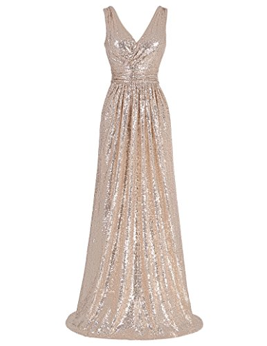Kate Kasin Cocktail Sleeveless Deep V Neck Long Pary Dresses Rose Gold Size 2 KK199 ()