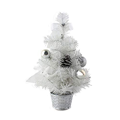 Tabletop Christmas Tree, Inkach Mini Xmas Tree Pine Cones Ball Ornaments Display Stand Desk Tree Decorations Gifts (White)
