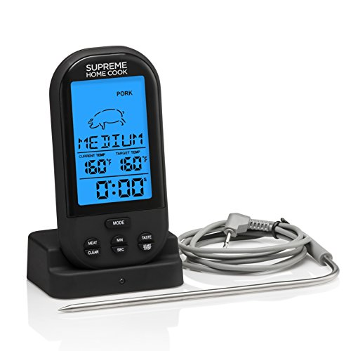 Supreme Home Cook PRO SERIES Oven and Grill Wireless Digital Long Range Meat Thermometer. With Timer and Silicone Probe in Christmas and Birthday presentation gift box (Meat Gifts For Christmas)