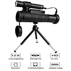 Digital 40X60 Infrared Night Vision Monocular, Hd 1080P, Trail Hunting, Clearly See up to 300M/1000Ft Eyepiece, App Wireless Connection, 12X Magnification, Wide-Angle View-Multifunction-3 Changes, W
