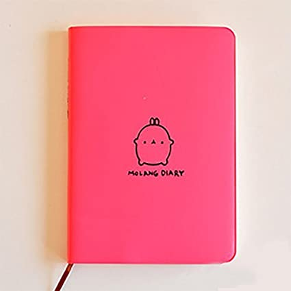 Life VC New 2019-2020 Cute Kawaii Notebook Cartoon Molang Rabbit Journal Diary Planner Notepad for Kids Gift Korean Stationery Three Covers (Pink)