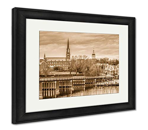 Ashley Framed Prints Annapolis, Maryland, USA State House Where St. Mary's Church, Wall Art Home Decoration, Sepia, 30x35 (Frame Size), Black Frame, AG32492219