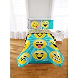 Emoji Bed in a Bag Full Super Cute, Soft and Trendy Emoji Nation Forever Happy Bed-In-A-Bag Bedding Set, Exclusive, Blue/Yelow, Full