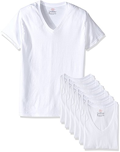 Hanes mens TAGLESS ComfortSoft V-Neck Undershirt 7-Pack (777VG7) (XX-Large, White)