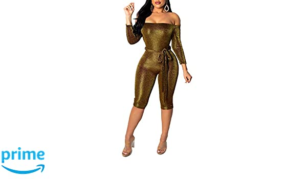 2b29af28a7c Amazon.com  Remelon Women Sexy Sparkly Glitter Off Shoulder 3 4 Sleeve  Bodycon Romper Short Jumpsuits with Belt Gold S  Clothing