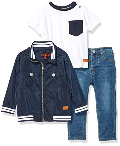 7 For All Mankind Kids Baby Boys Nylon Jacket, Jersey T-Shirt, and Denim Short Set, White/Navy/Medium Wash, 18M ()