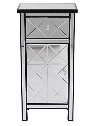 Heather Ann Creations Contemporary Accent Storage Cabinet with 1 Drawer and 1 Door in Beveled Mirrored Finish, 20″ x 13″ x 40″