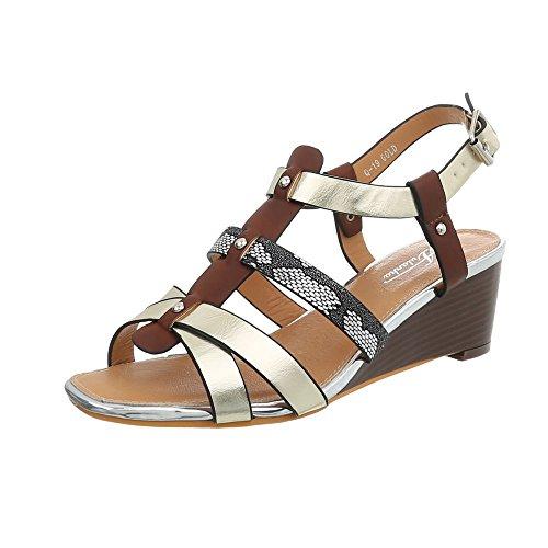 19 Femme Design Or Ital Chaussures Compensees Sandales Sandales Q Compensé Multi wvERTEqB