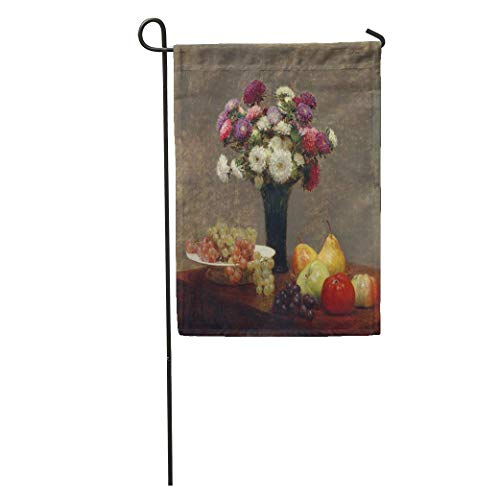 Nick Thoreaufhed Garden Flag Asters and Fruit on Table by Henri Fantin Latour 1868 Home Yard House Decor Barnner Outdoor Stand 12x18 Inches Flag ()