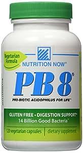 Now PB 8 Pro-Biotic Acidophilus Capsules, Vegetarian, 120-Count Bottles 60 Servings