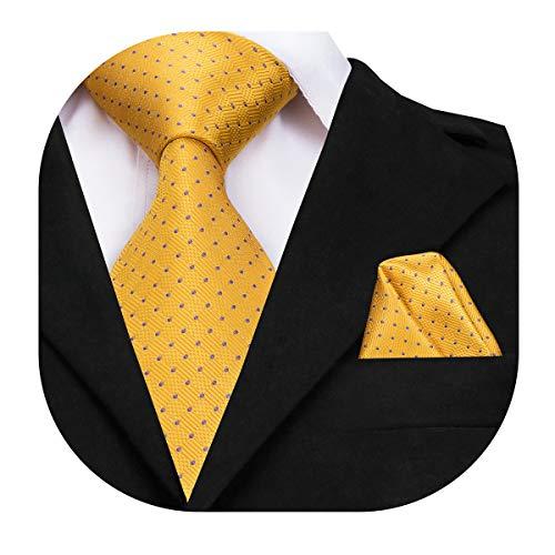 Dubulle Yellow Polka Dot Tie Mens Ties Long with Hanky