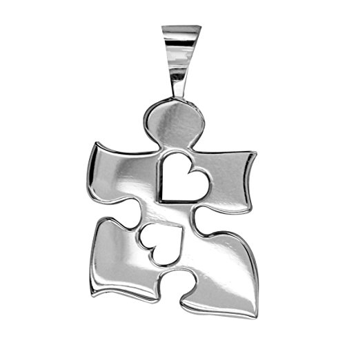 Autism Awareness Puzzle Piece Charm with 2 Open Hearts in Sterling Silver, 20mm (Puzzle Sterling Charm Silver)