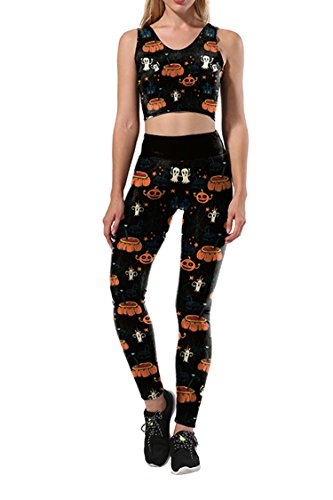 Selowin Women Lady Halloween Pumpking Ghost Tank Crop Gym Yaga 2 Piece Tracksuits Black-pumpkin Ghost Large ()