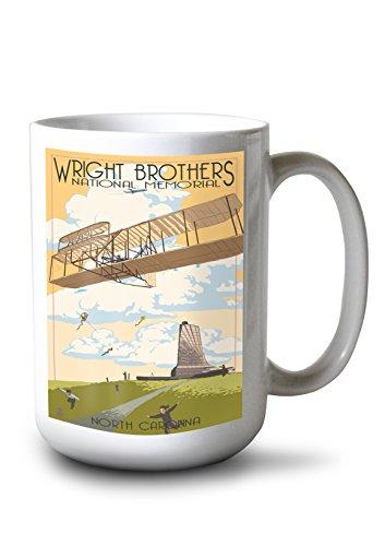 Brothers Memorial First Wright Flight (Lantern Press Outer Banks, North Carolina - Wright Brothers National Memorial (15oz White Ceramic Mug))